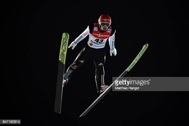 Markus Eisenbichler of Germany competes during the Men's Ski Jumping HS130 at the FIS Nordic World Ski Championships on March 2 2017 in Lahti Finland