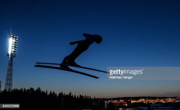 Markus Eisenbichler of Germany competes in the trial round for the Men's Ski Jumping HS100 Final during the FIS Nordic World Ski Championships on...