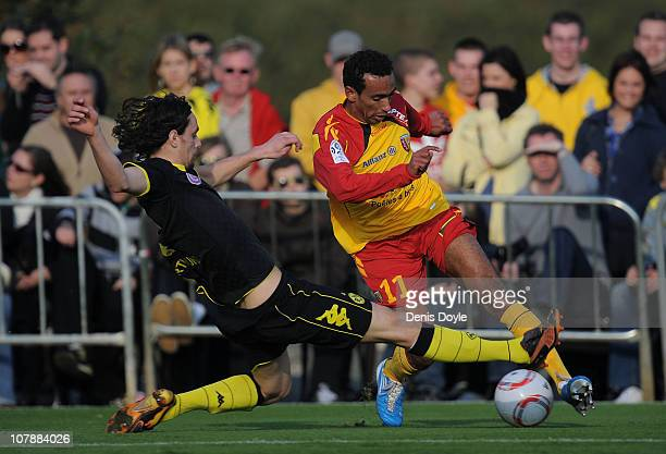 Markus Feulner of Dortmund tackles a player of Lens during the friendly match between Borussia Dortmund and Lens at the Jerez training camp on...