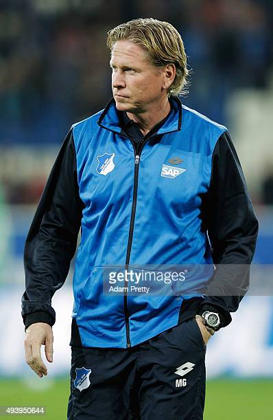 Markus Gisdol Head Coach of 1899 Hoffenheim before the Bundesliga match between 1899 Hoffenheim and Hamburger SV at Wirsol RheinNeckarArena on...