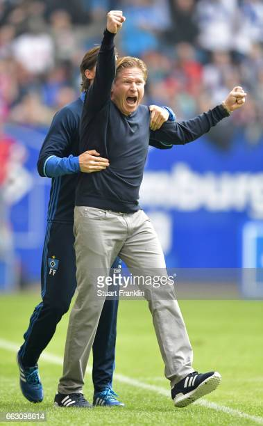 Markus Gisdol head coach of Hamburg celebrates at the end of the Bundesliga match between Hamburger SV and 1 FC Koeln at Volksparkstadion on April 1...