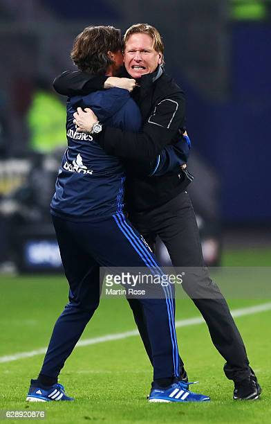 Markus Gisdol head coach of Hamburg celebrates his teams win at the end of the Bundesliga match between Hamburger SV and FC Augsburg at...