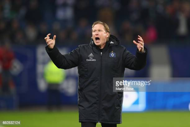 Markus Gisdol head coach of Hamburg celebrates victory after winning the Bundesliga match between Hamburger SV and Borussia Moenchengladbach at...