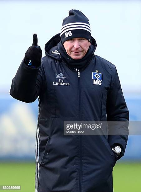 Markus Gisdol head coach of Hamburg gestures during a training session of Hamburger SV at Volksparkstadion on January 4 2017 in Hamburg Germany