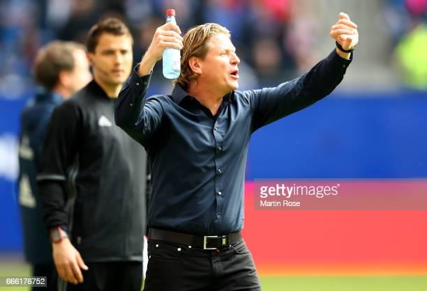 Markus Gisdol head coach of Hamburg gestures during the Bundesliga match between Hamburger SV and TSG 1899 Hoffenheim at Volksparkstadion on April 8...