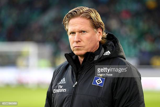 Markus Gisdol head coach of Hamburg looks on before the Bundesliga match between VfL Wolfsburg and Hamburger SV at Volkswagen Arena on January 21...