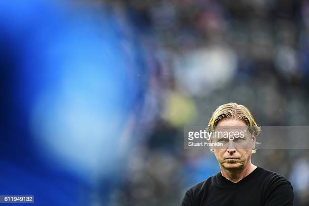 Markus Gisdol head coach of Hamburg looks on during his first match as head coach during the Bundesliga match between Hertha BSC and Hamburger SV at...