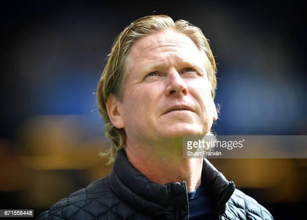 Markus Gisdol head coach of Hamburg looks on during the Bundesliga match between Hamburger SV and SV Darmstadt 98 at Volksparkstadion on April 22...