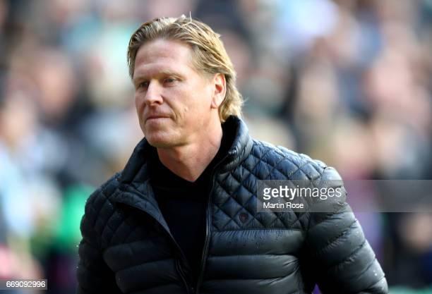 Markus Gisdol head coach of Hamburg reacts the Bundesliga match between Werder Bremen and Hamburger SV at Weserstadion on April 16 2017 in Bremen...