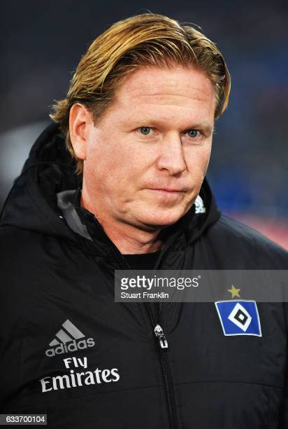 Markus Gisdol head coach of Hamburger SV before the Bundesliga match between Hamburger SV and Bayer 04 Leverkusen at Volksparkstadion on February 3...