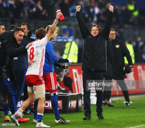 Markus Gisdol head coach of Hamburger SV celebrates victory after the Bundesliga match between Hamburger SV and Bayer 04 Leverkusen at...