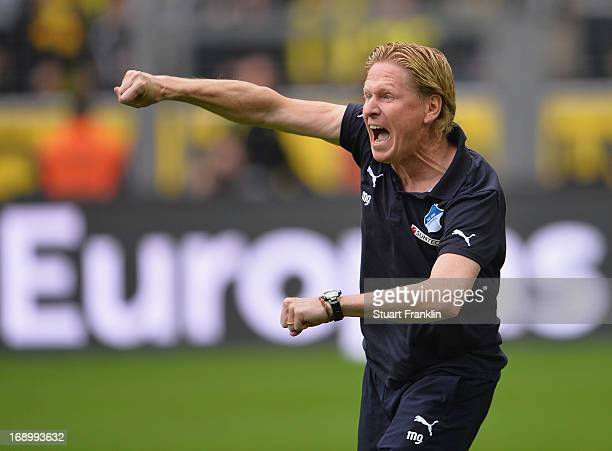 Markus Gisdol head coach of Hoffenheim celebrates his team's win at the end of the Bundesliga match between Borussia Dortmund and TSG 1899 Hoffenheim...