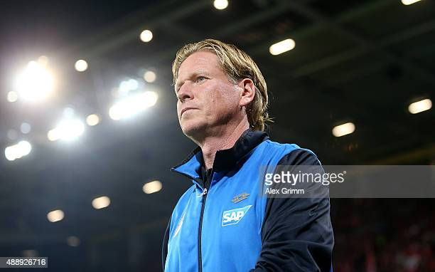 Markus Gisdol head coach of Hoffenheim looks on before the Bundesliga match between 1 FSV Mainz 05 and 1899 Hoffenheim at Coface Arena on September...