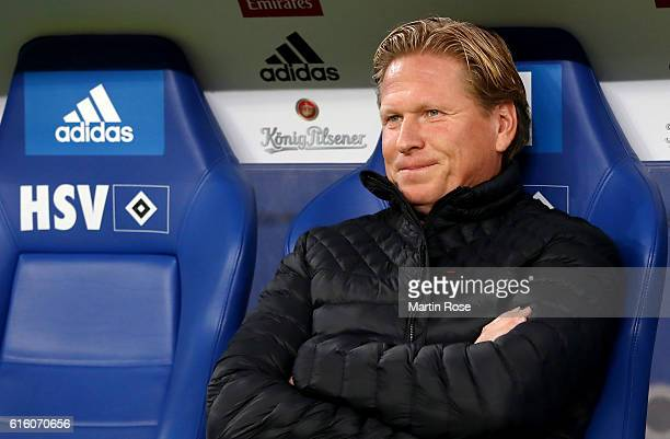 Markus Gisdol headcoach of Hamburg looks on before the Bundesliga match between Hamburger SV and Eintracht Frankfurt at Volksparkstadion on October...