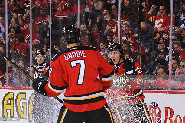 Markus Granlund of the Calgary Flames celebrates after scoring against the Toronto Maple Leafs during an NHL game at Scotiabank Saddledome on...