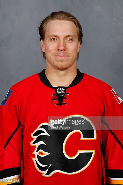 Markus Granlund of the Calgary Flames poses for his official headshot for the 20152016 season on September 17 2015 at the WinSport Winter Sport...