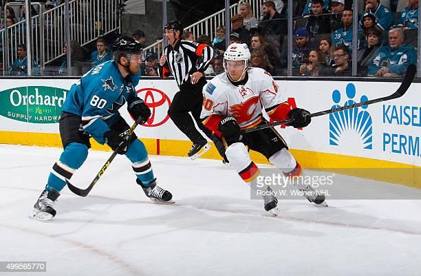 Markus Granlund of the Calgary Flames skates against Matt Tennyson of the San Jose Sharks at SAP Center on November 28 2015 in San Jose California