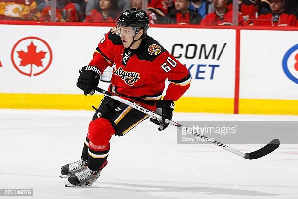 Markus Granlund of the Calgary Flames skates against the Arizona Coyotes at Scotiabank Saddledome on April 7 2015 in Calgary Alberta Canada Calgary...