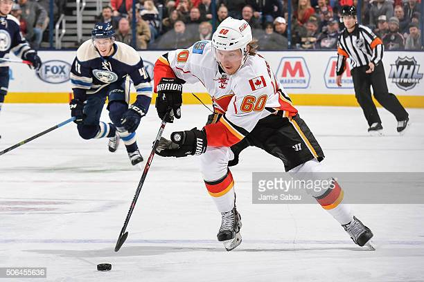Markus Granlund of the Calgary Flames skates against the Columbus Blue Jackets on January 21 2016 at Nationwide Arena in Columbus Ohio