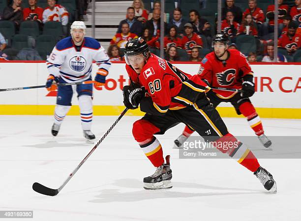 Markus Granlund of the Calgary Flames skates against the Edmonton Oilers at Scotiabank Saddledome on October 17 2015 in Calgary Alberta Canada