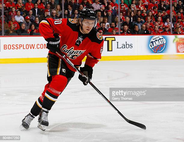 Markus Granlund of the Calgary Flames skates against the Florida Panthers at Scotiabank Saddledome on January 13 2016 in Calgary Alberta Canada