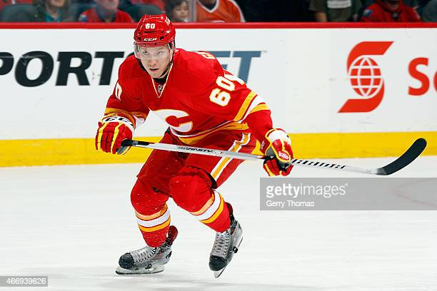 Markus Granlund of the Calgary Flames skates against the Philadelphia Flyers at Scotiabank Saddledome on March 19 2015 in Calgary Alberta Canada