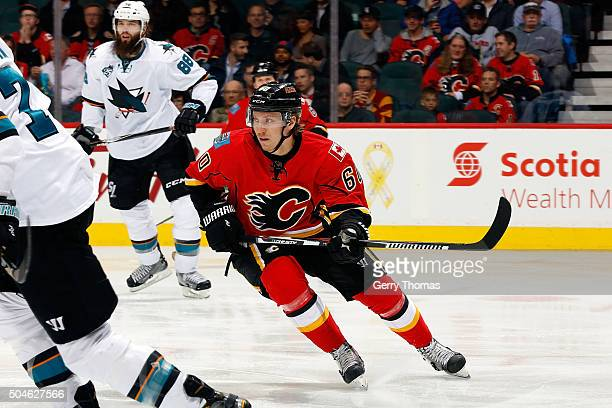 Markus Granlund of the Calgary Flames skates against the San Jose Sharks during an NHL game at Scotiabank Saddledome on January 11 2016 in Calgary...
