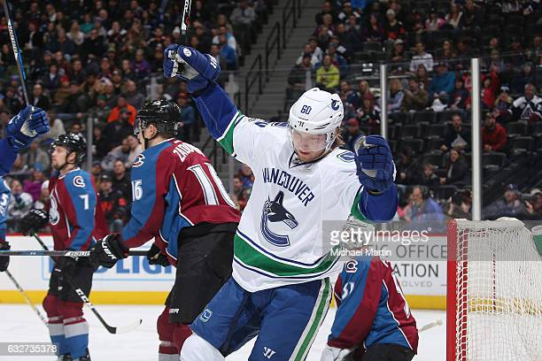 Markus Granlund of the Vancouver Canucks celebrates after scoring a goal against the Colorado Avalanche at the Pepsi Center on January 25 2017 in...