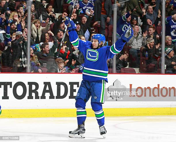 Markus Granlund of the Vancouver Canucks celebrates his goal during their NHL game against the Calgary Flames at Rogers Arena January 6 2017 in...
