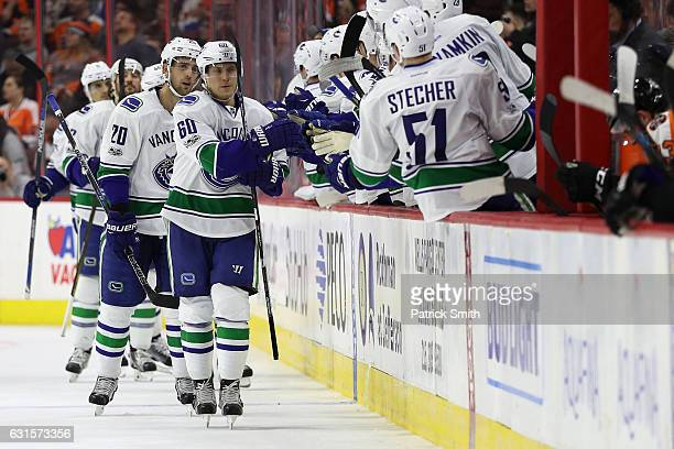 Markus Granlund of the Vancouver Canucks celebrates his second goal of the second period with teammates against the Philadelphia Flyers at Wells...
