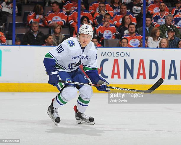 Markus Granlund of the Vancouver Canucks skates during a game against the Edmonton Oilers on April 6 2016 at Rexall Place in Edmonton Alberta Canada