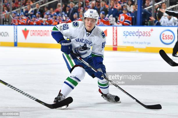 Markus Granlund of the Vancouver Canucks skates during the game against the Edmonton Oilers on March 18 2017 at Rogers Place in Edmonton Alberta...