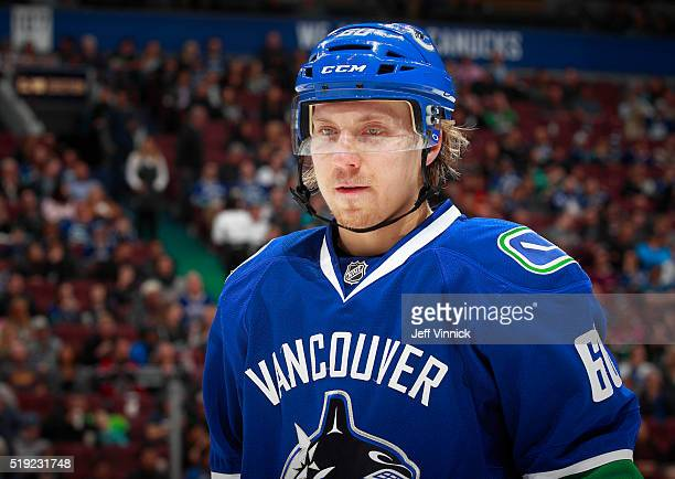 Markus Granlund of the Vancouver Canucks skates up ice during their NHL game against the San Jose Sharks at Rogers Arena March 29 2016 in Vancouver...