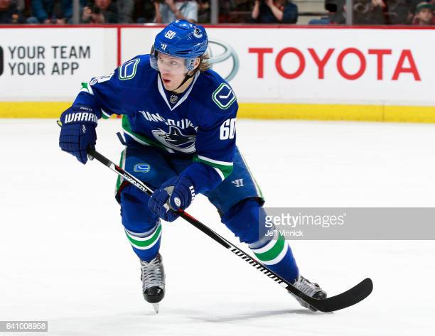 Markus Granlund of the Vancouver Canucks skates up ice during their NHL game against the San Jose Sharks at Rogers Arena February 2 2017 in Vancouver...