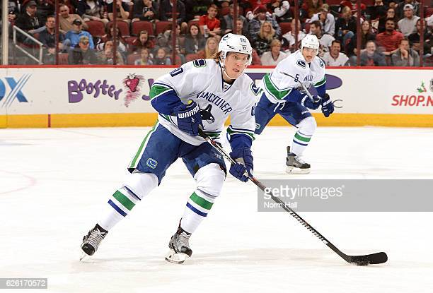 Markus Granlund of the Vancouver Canucks skates with the puck against the Arizona Coyotes at Gila River Arena on November 23 2016 in Glendale Arizona