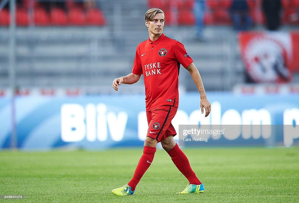 Markus Halsti of FC Midtjylland looks on during the Europa League Qualifier match between FC Midtjylland and FK Suduva at MCH Arena on June 30, 2016 in Herning, Denmark.