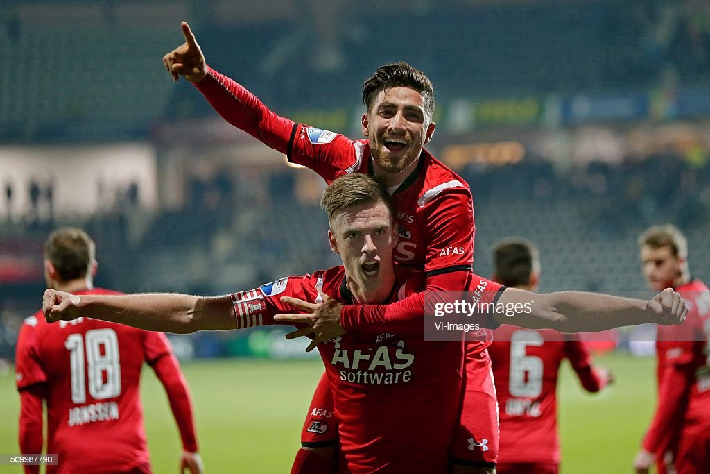 Markus Henriksen of AZ Alkmaar, Alireza Jahanbakhsh of AZ Alkmaar during the Dutch Eredivisie match between Heracles Almelo and AZ Alkmaar at Polman stadium on February 13, 2016 in Almelo, The Netherlands