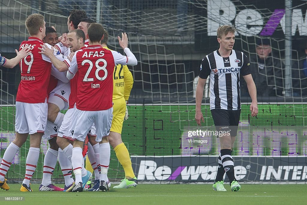 Markus Henriksen of AZ, Giliano Wijnaldum of AZ, Roy Beerens of AZ, Ben Rienstra of Heracles Almelo during the Dutch Eredivisie match between Heracles Almelo and AZ Alkmaar at the Polman Stadium on march 31, 2013 in Almelo, The Netherlands