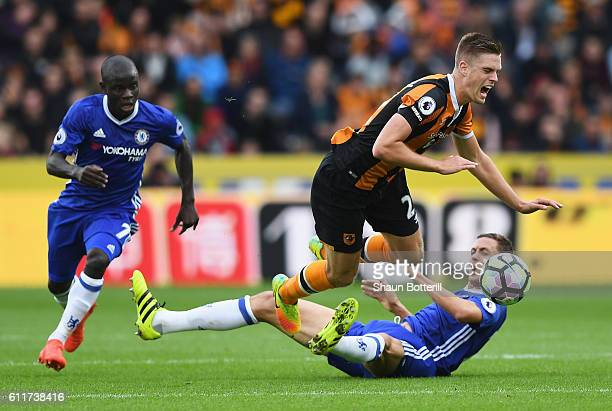 Markus Henriksen of Hull City is fouled by Nemanja Matic of Chelsea during the Premier League match between Hull City and Chelsea at KCOM Stadium on...
