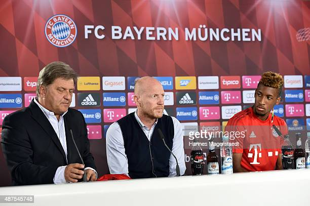 Markus Hoerwick Matthias Sammer and Kingsley Coman during the 'FC Bayern Muenchen Unveils New Signing Kingsley Coman' at press center of FC Bayern on...