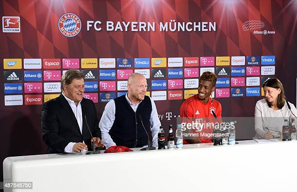 Markus Hoerwick Matthias Sammer Kingsley Coman and Lisa Foerster during the 'FC Bayern Muenchen Unveils New Signing Kingsley Coman' at press center...