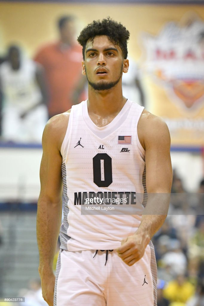 Markus Howard #0 of the Marquette Golden Eagles looks on during a consultation college basketball game at the Maui Invitational against the LSU Tigers at the Lahaina Civic Center on November 22, 2017 in Lahaina, Hawaii. The Golden Eagles won 94-84.
