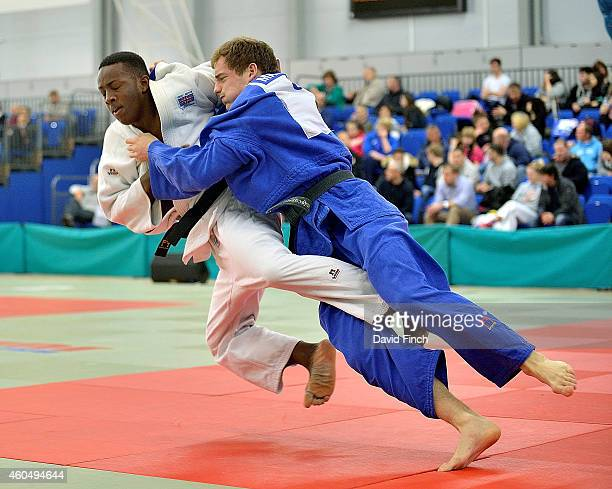 Markus Hunt of TNJC throws Jamal Petgrave of Westcroft JC but eventually lost the u90kg match to Petgrave by an ippon during the British Senior Judo...