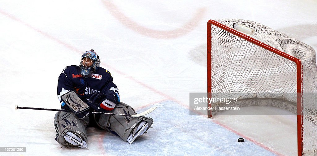 Markus Janka (goalie) of Ingolstadt looks on during the DEL match between ERC Ingolstadt and Hannover Scorpions at Saturnarena on January 15, 2012 in Ingolstadt, Germany.