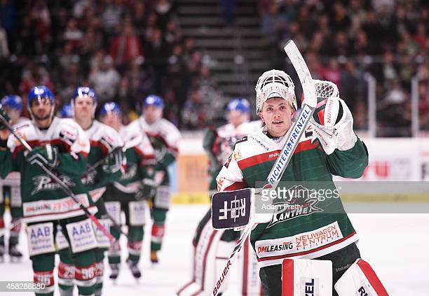 Markus Keller of the Panthers celebrates after victory in the DEL Ice Hockey match between Augsburger Panther and Schwenninger Wild Wings at Curt...