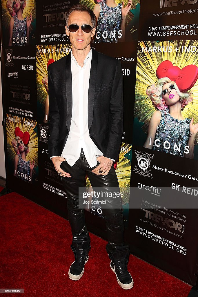 Markus Klinko arrives at Markus + Indrani Icons book launch party hosted by Carmen Electra benefiting The Trevor Project at Merry Karnowsky Gallery & Graffiti on January 10, 2013 in Los Angeles, California.