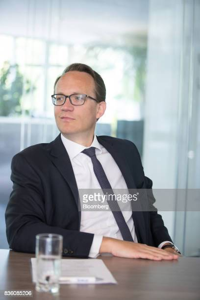 Markus Krebber chief financial officer of RWE AG looks on during an interview at the company's offices in Essen Germany on Wednesday Aug 16 2017 RWE...