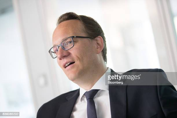 Markus Krebber chief financial officer of RWE AG speaks during an interview at the company's offices in Essen Germany on Wednesday Aug 16 2017 RWE...