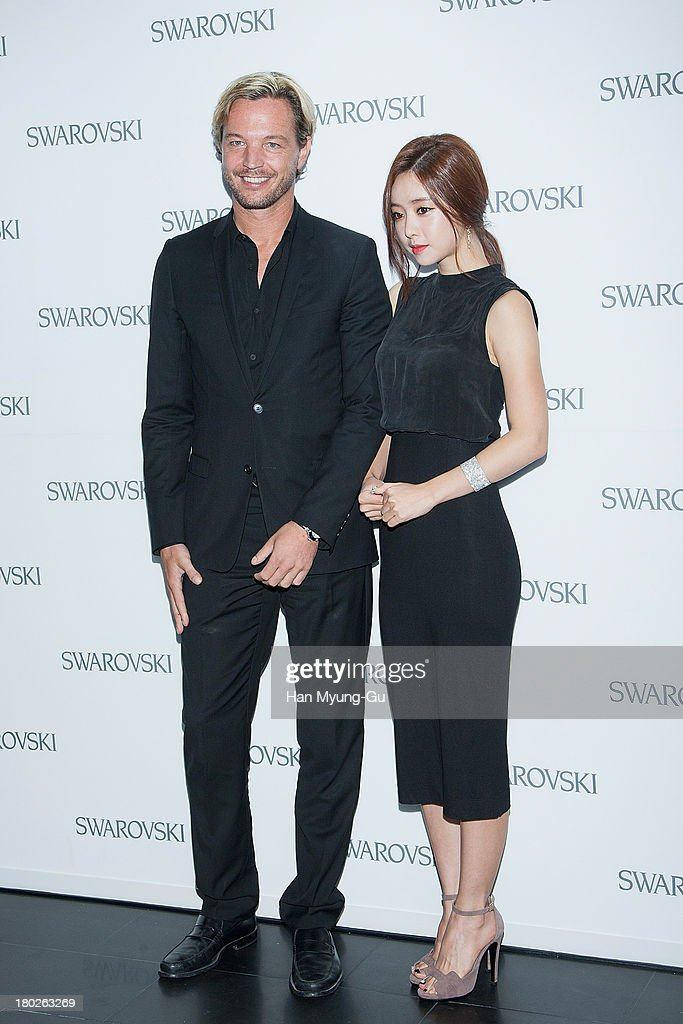 Markus Langes-Swarovski and actress Hong Su-A (<a gi-track='captionPersonalityLinkClicked' href=/galleries/search?phrase=Hong+Soo-Ah&family=editorial&specificpeople=4357884 ng-click='$event.stopPropagation()'>Hong Soo-Ah</a>) attend 'SWAROVSKI' World Jewelry Facets at The Horim Art Center on September 10, 2013 in Seoul, South Korea.