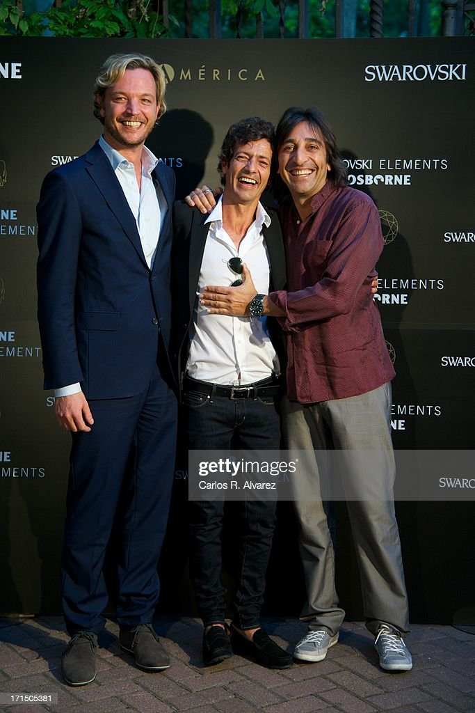 Markus Langes-Swarovski, Willie Marquez and <a gi-track='captionPersonalityLinkClicked' href=/galleries/search?phrase=Antonio+Carmona&family=editorial&specificpeople=2061029 ng-click='$event.stopPropagation()'>Antonio Carmona</a> attend Swarovski-Osborne Bull illumination at the Casa America on June 25, 2013 in Madrid, Spain.